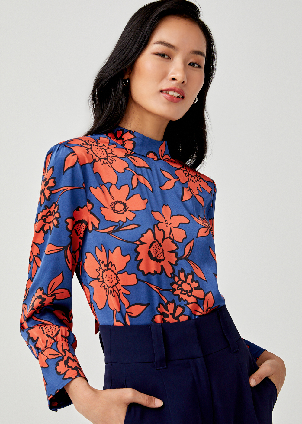 Elsie Satin Printed Blouse