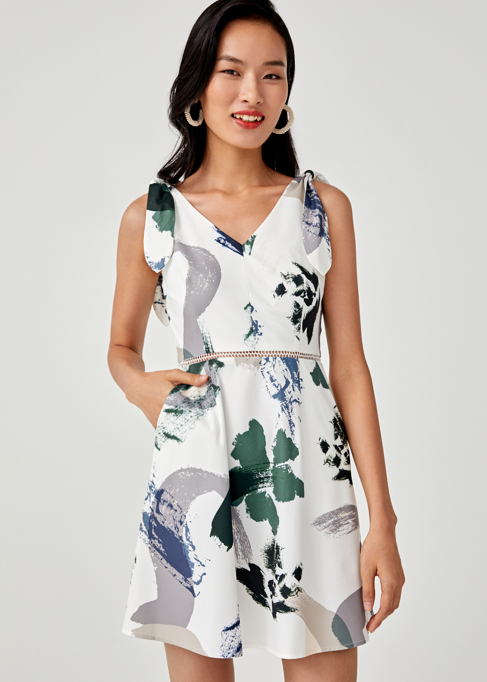 Anne Printed A-line Dress in Artful Bloom