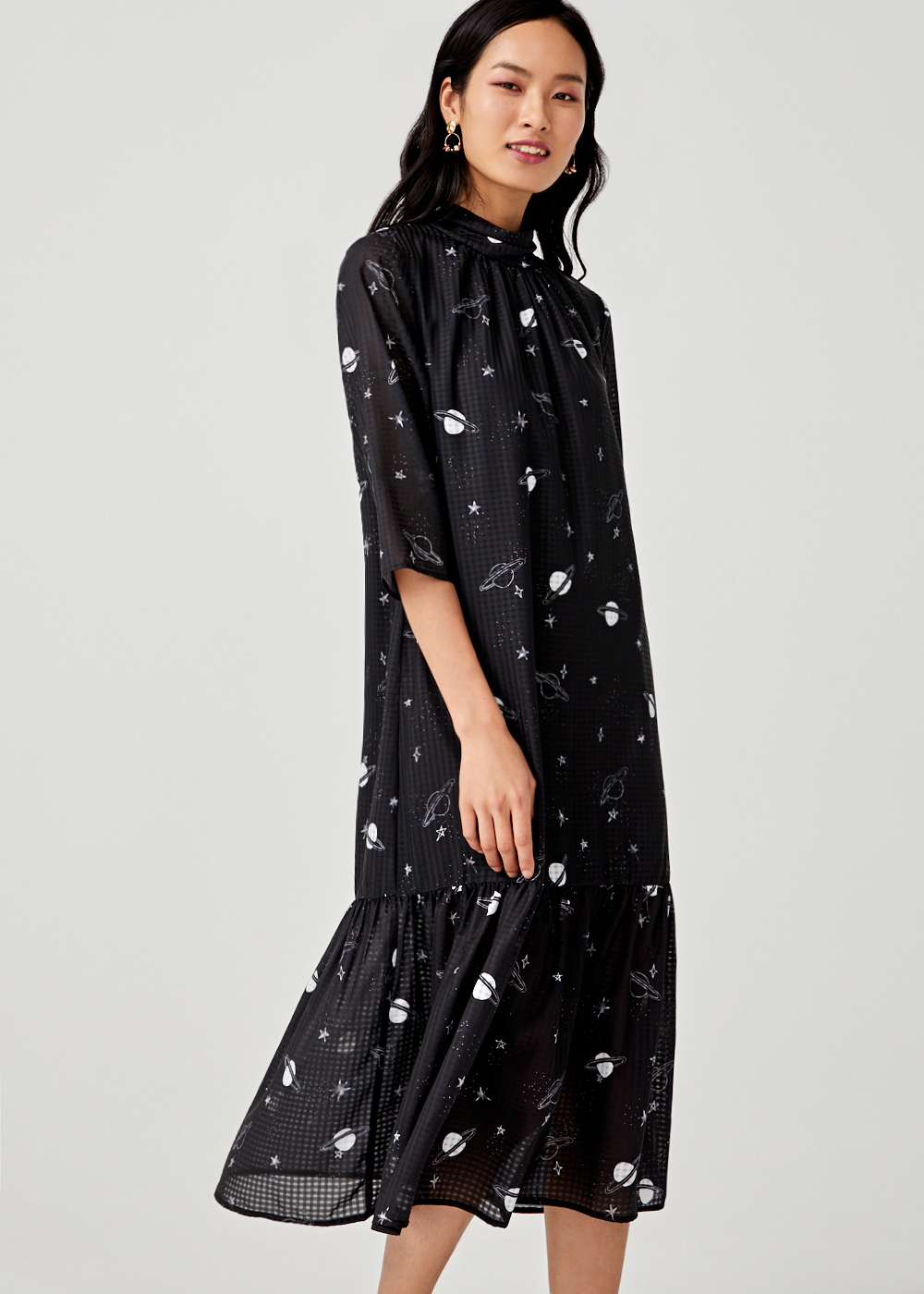 Gretchen Drop Hem Midi Dress in Galaxis Jam