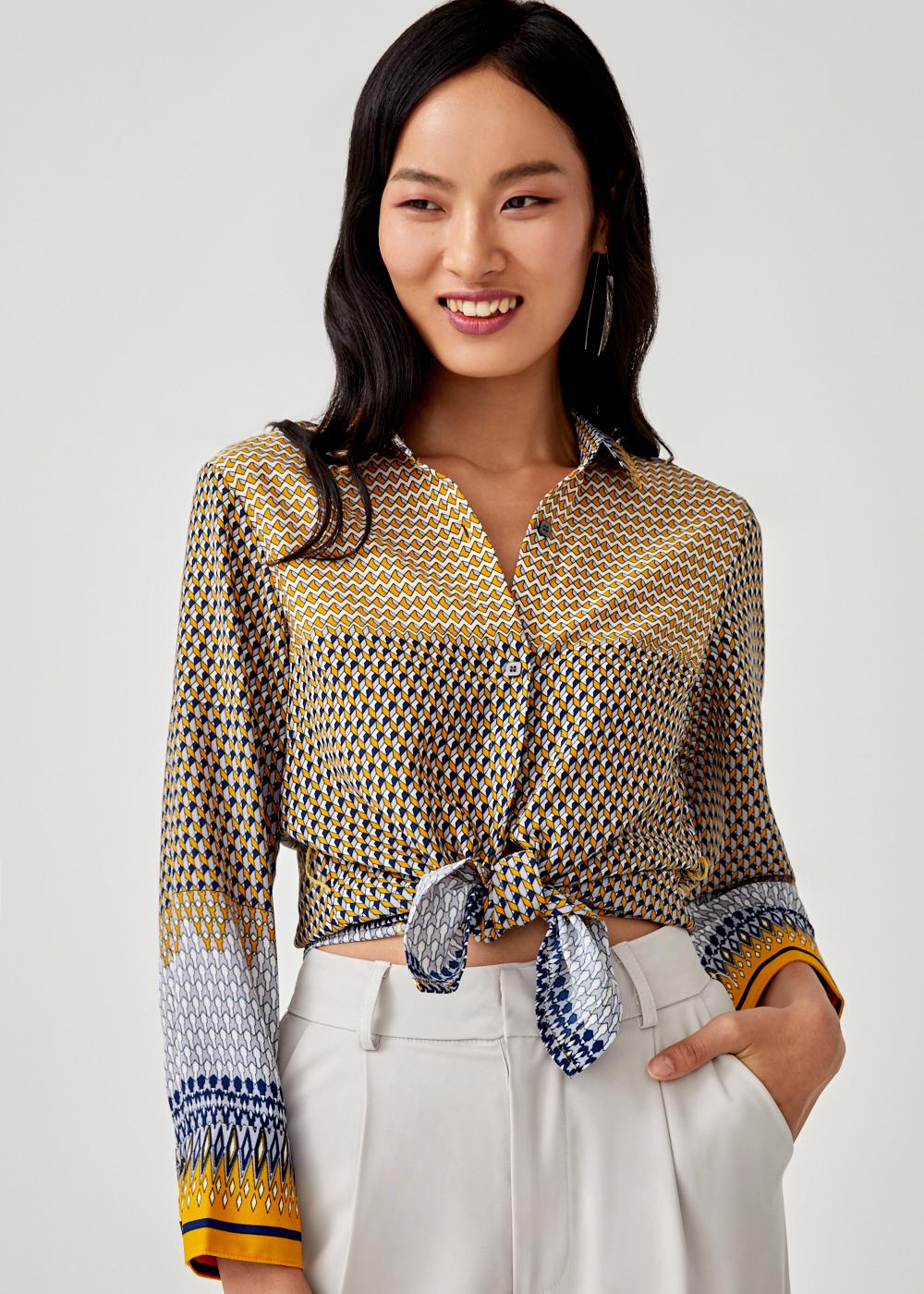 Floretta Printed Sash Tie Shirt