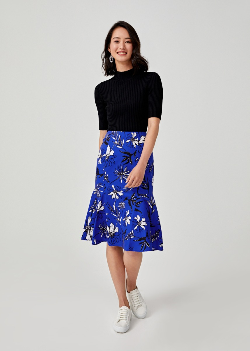 Merabelle Midi Peplum Skirt in Botanica Bloom