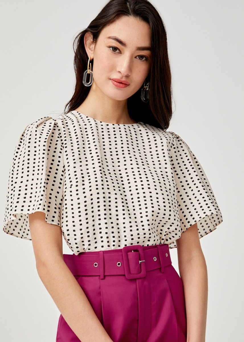 Helia Printed Flare Sleeve Top