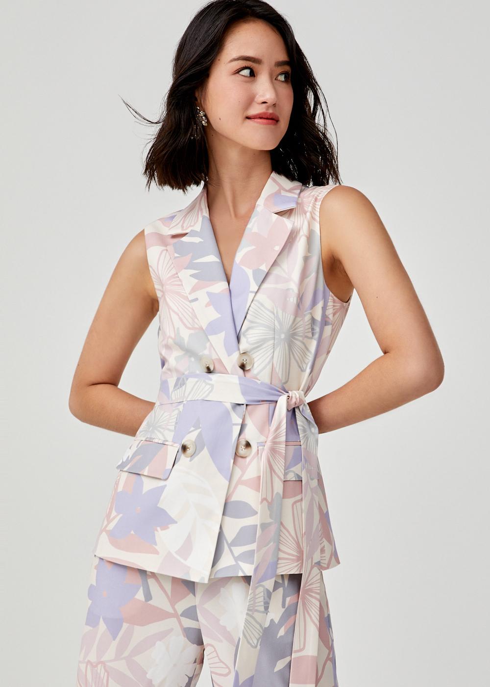 Aileena Belted Vest in Tropicana Dream