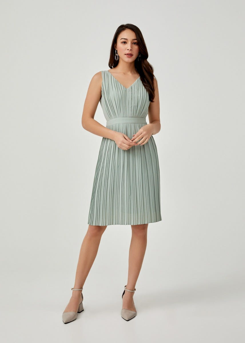 Alcie Pleated A-line Dress