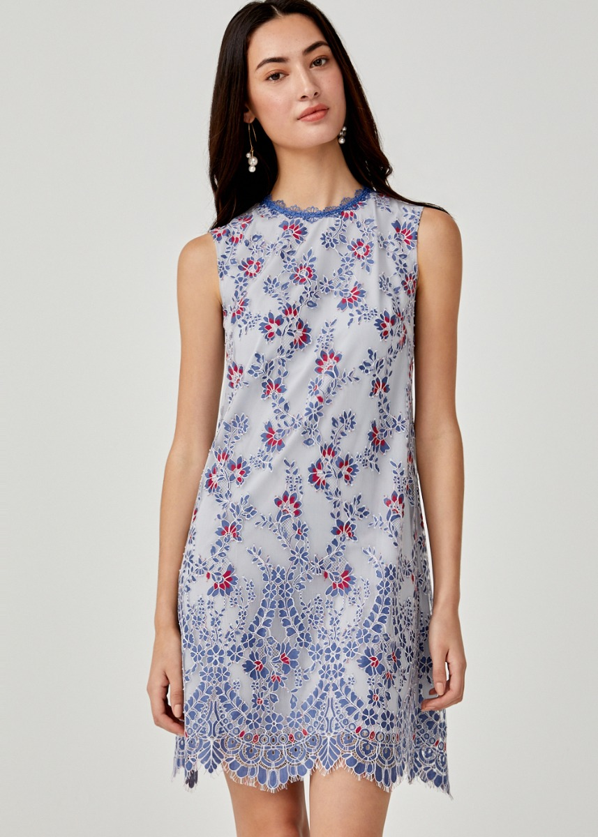 Miguelina Lace Overlay Shift Dress