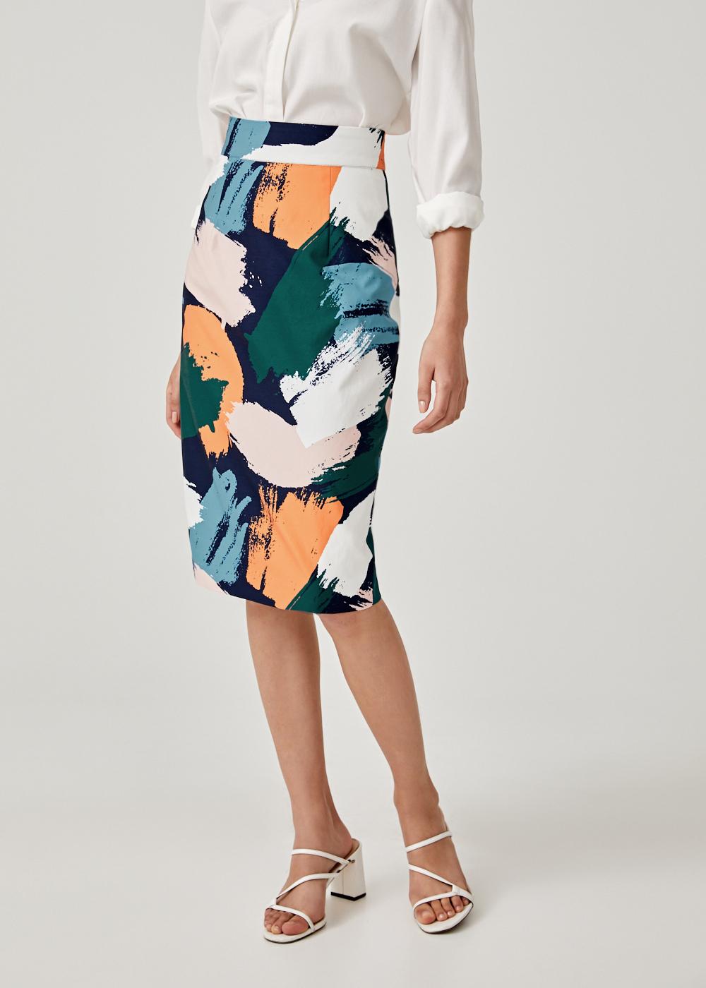 Laurensa Pencil Skirt in Artful Delight