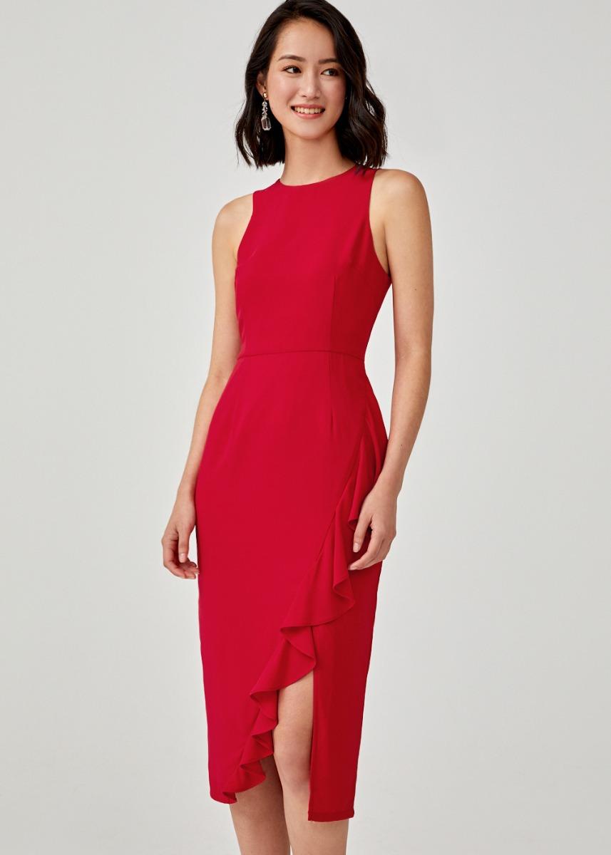 Meiko Ruffle Hem Bodycon Dress