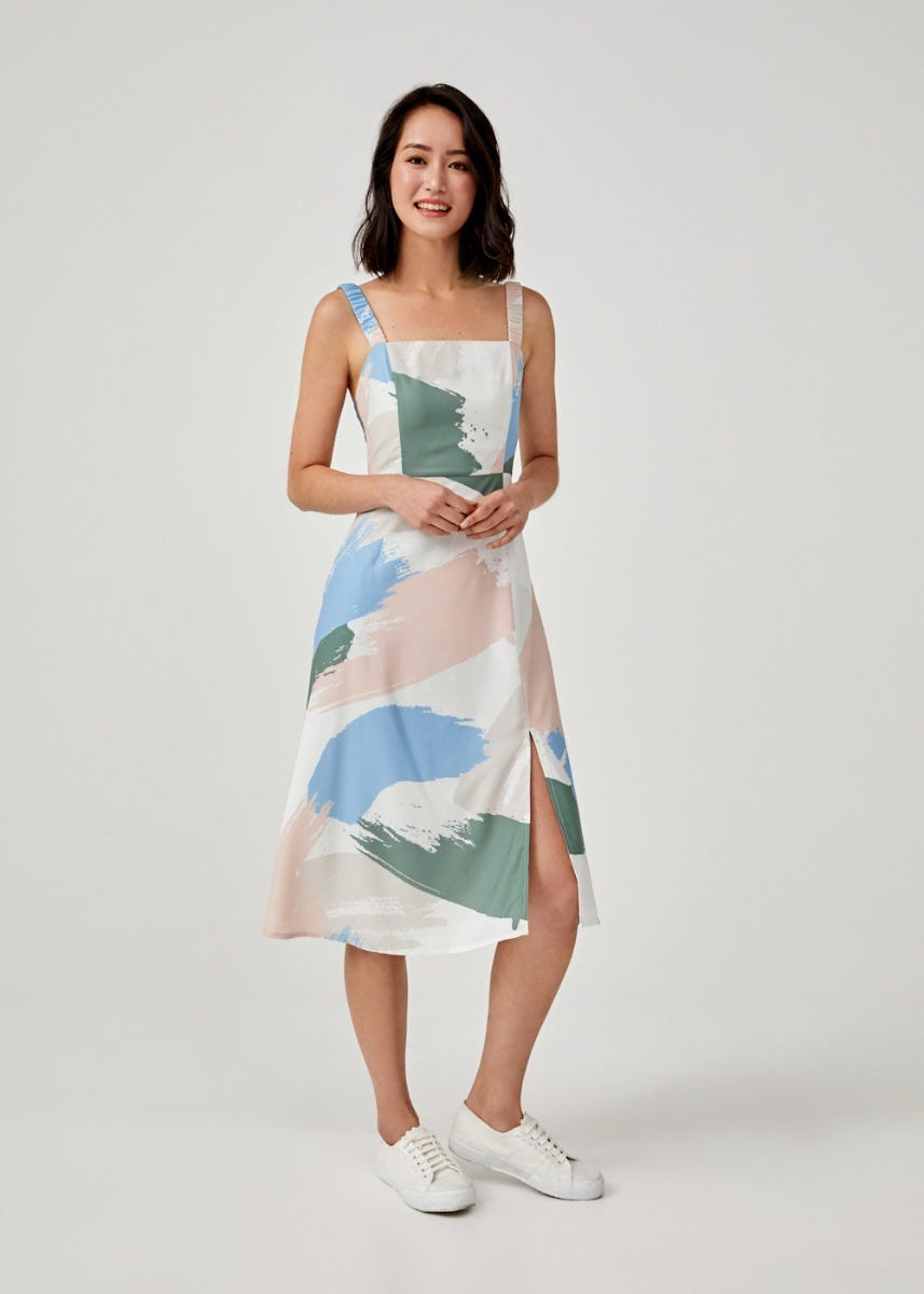 Ayaka Ruched Midi Dress in Artful Delight