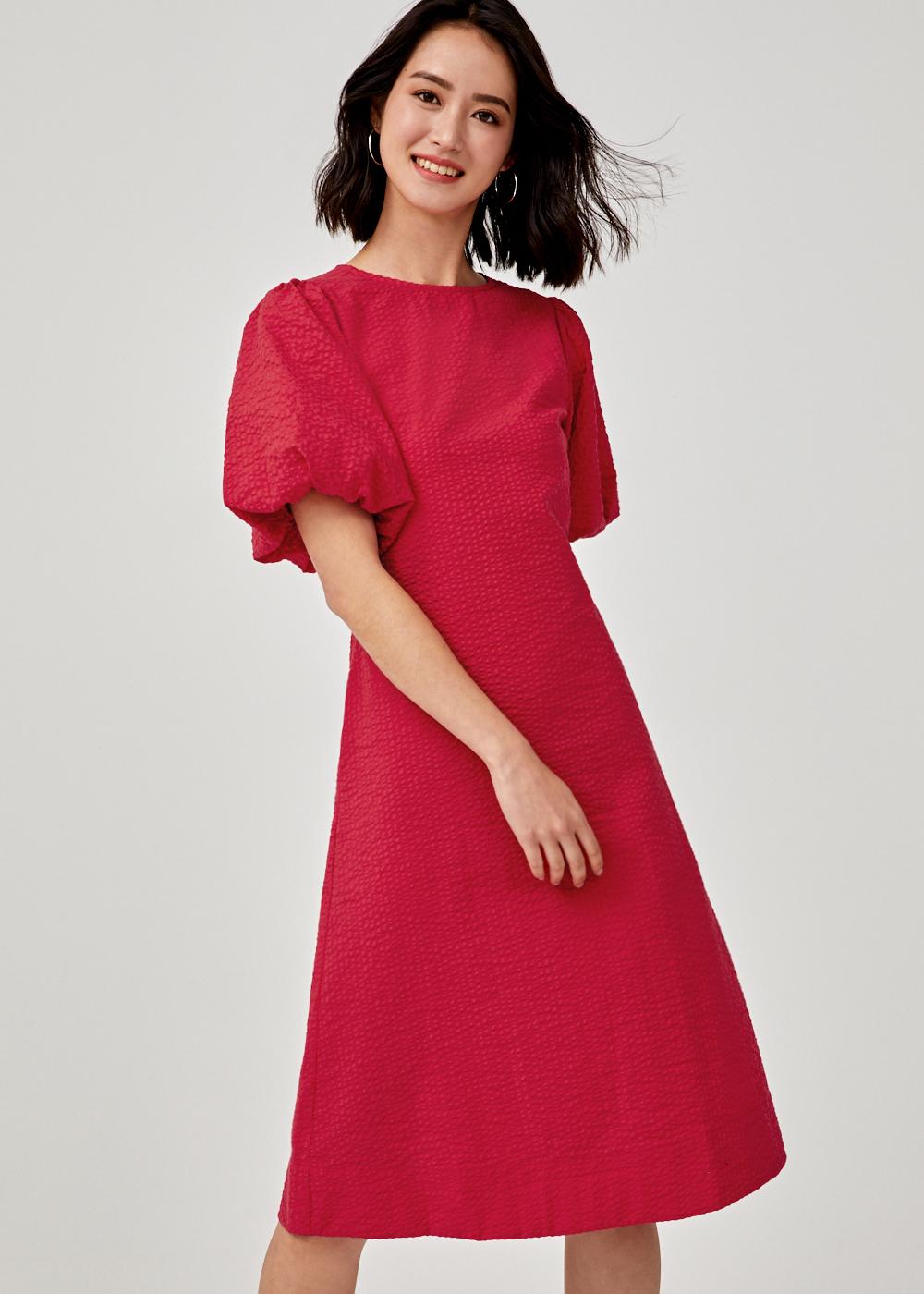 Natalina Puff Sleeve Midi Dress