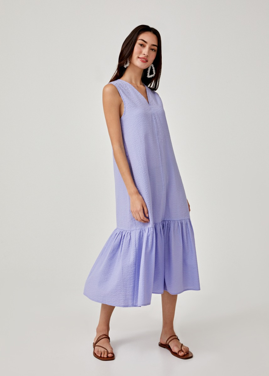 Arnelle Ruffle Hem Trapeze Dress