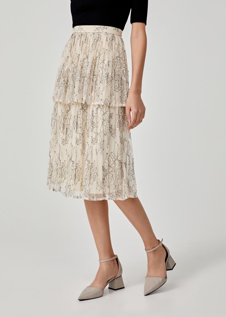 Theodosia Tiered Lace Midi Skirt