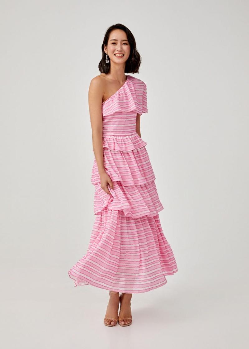 Phania Jacquard Tiered Maxi Dress