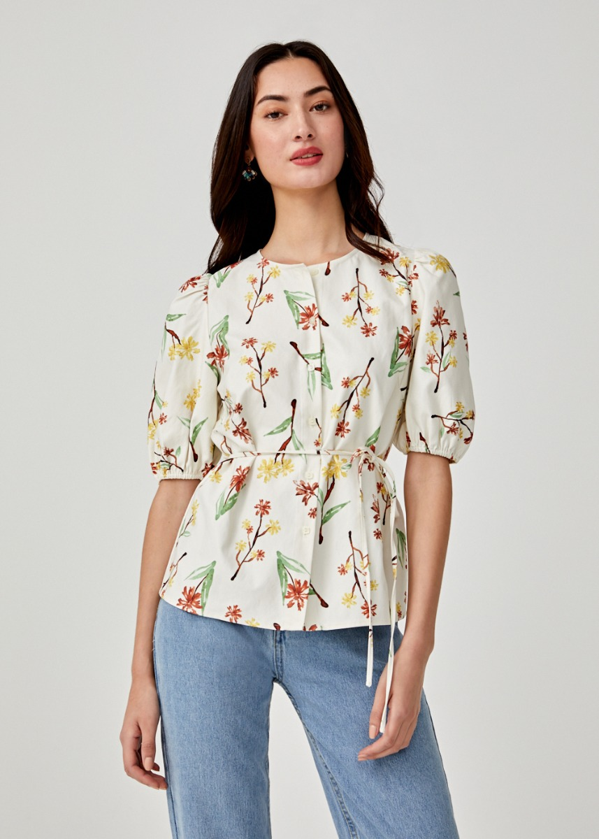 Bronywn Puff Sleeve Top in Springtime Tisane