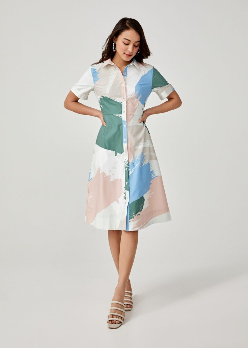 Annabeth Midi Shirt Dress in Artful Delight