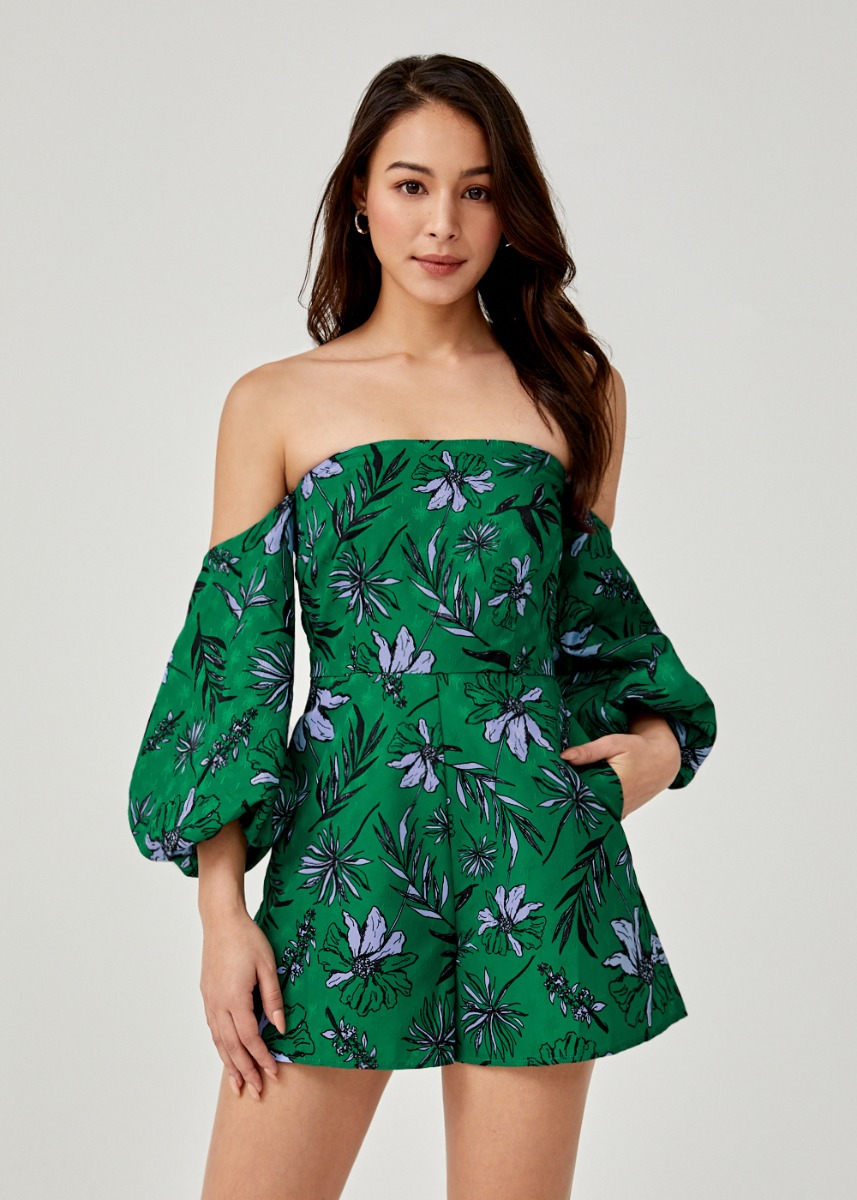 Melaine Off Shoulder Puff Sleeve Romper in Botanica Bloom