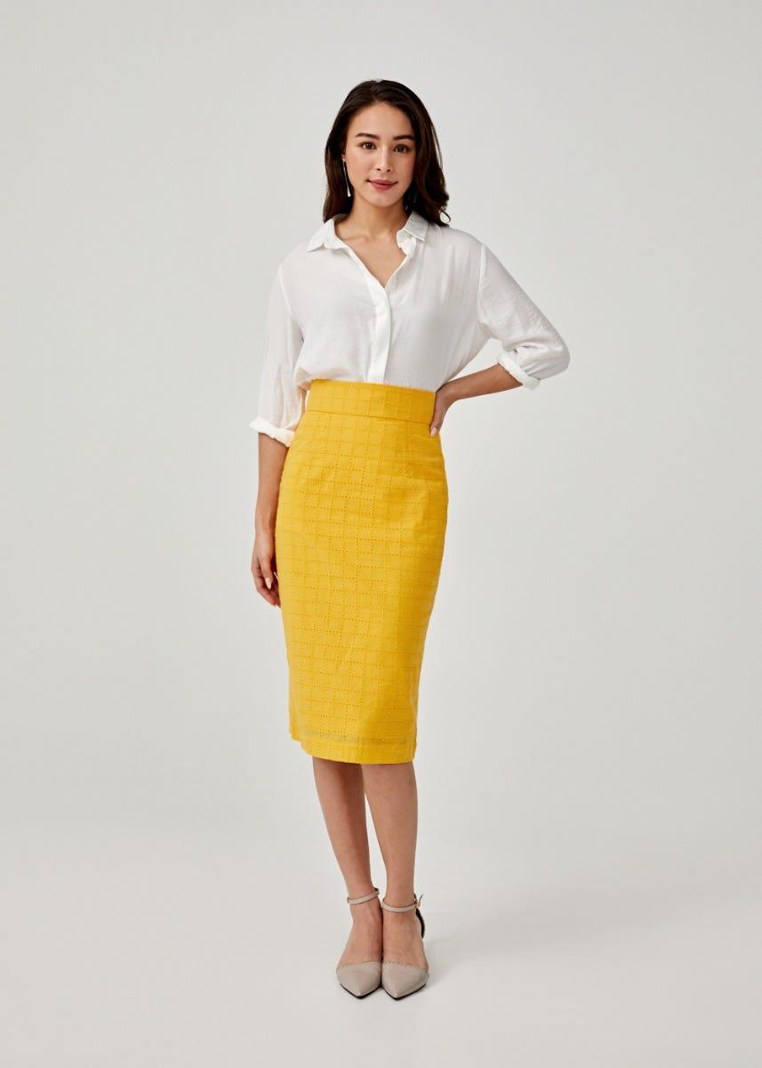Portia Broderie Anglaise Pencil Skirt
