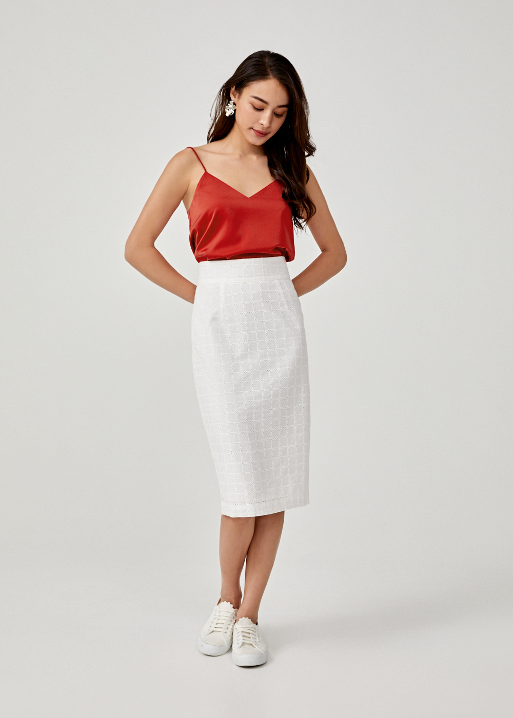 Portia Broderie Anglaise Pencil Skirt
