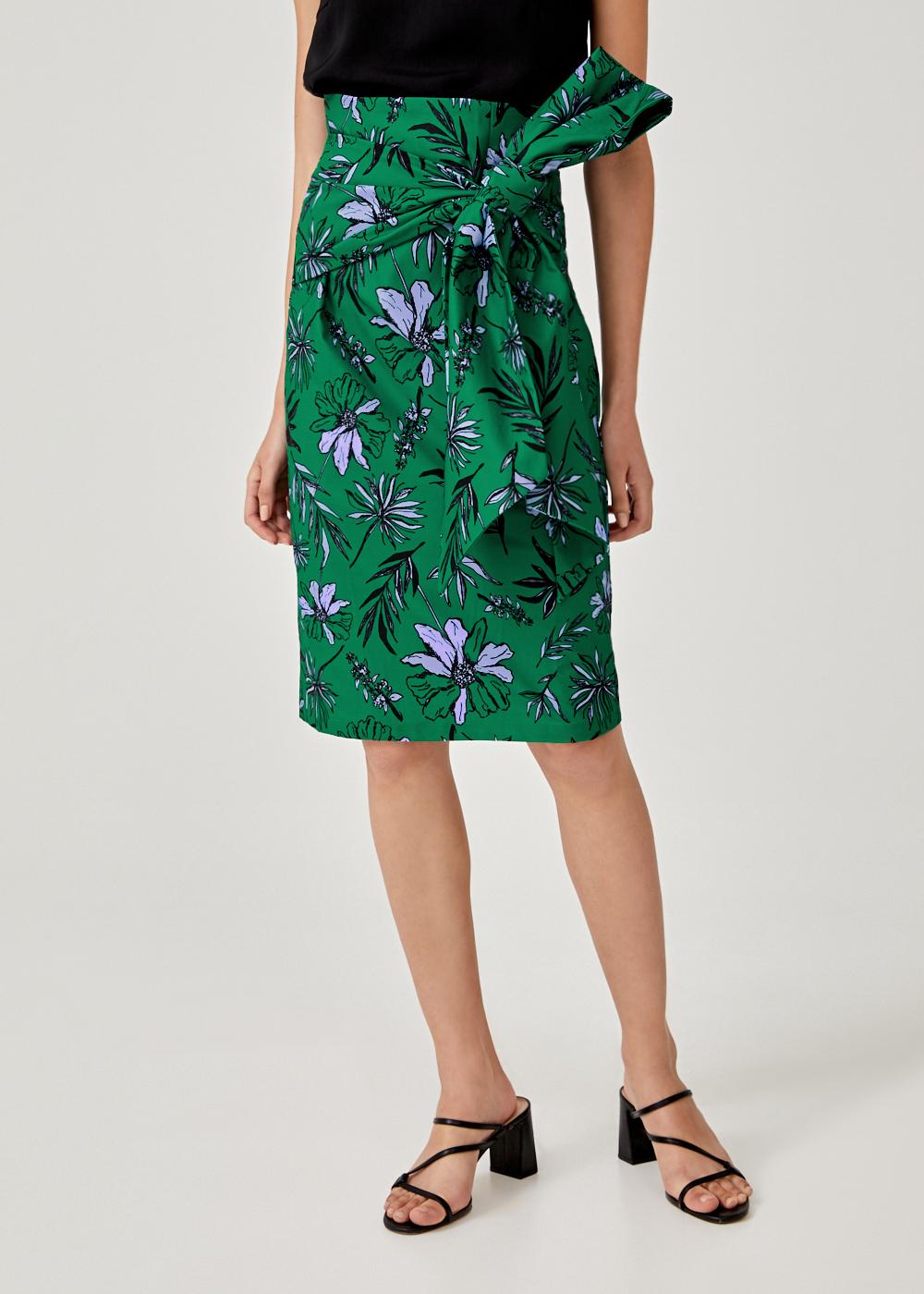 Sydena Tie Front Pencil Skirt in Botanica Bloom