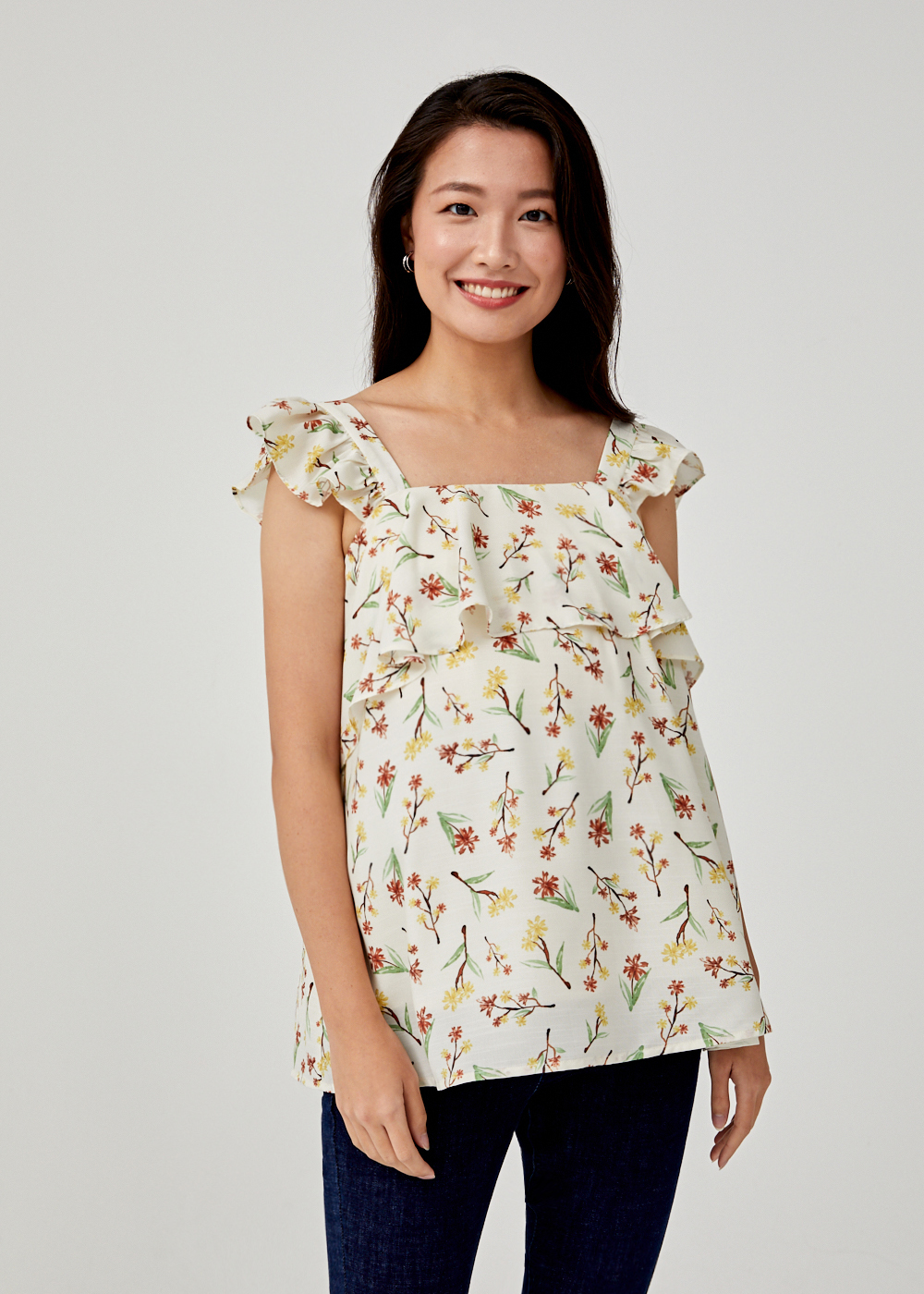 Larkyn Ruffle Top in Springtime Tisane