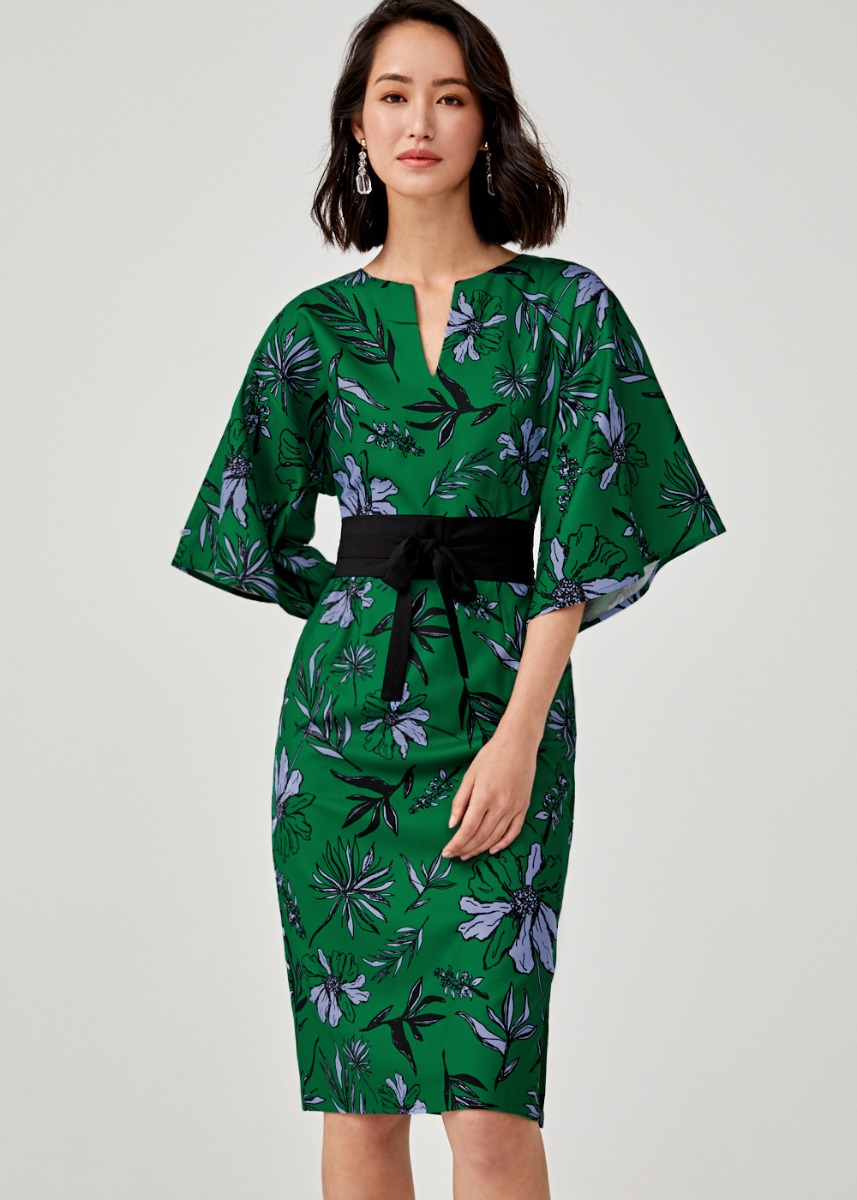 Jezebel Belted Notch Neck Dress in Botanica Bloom