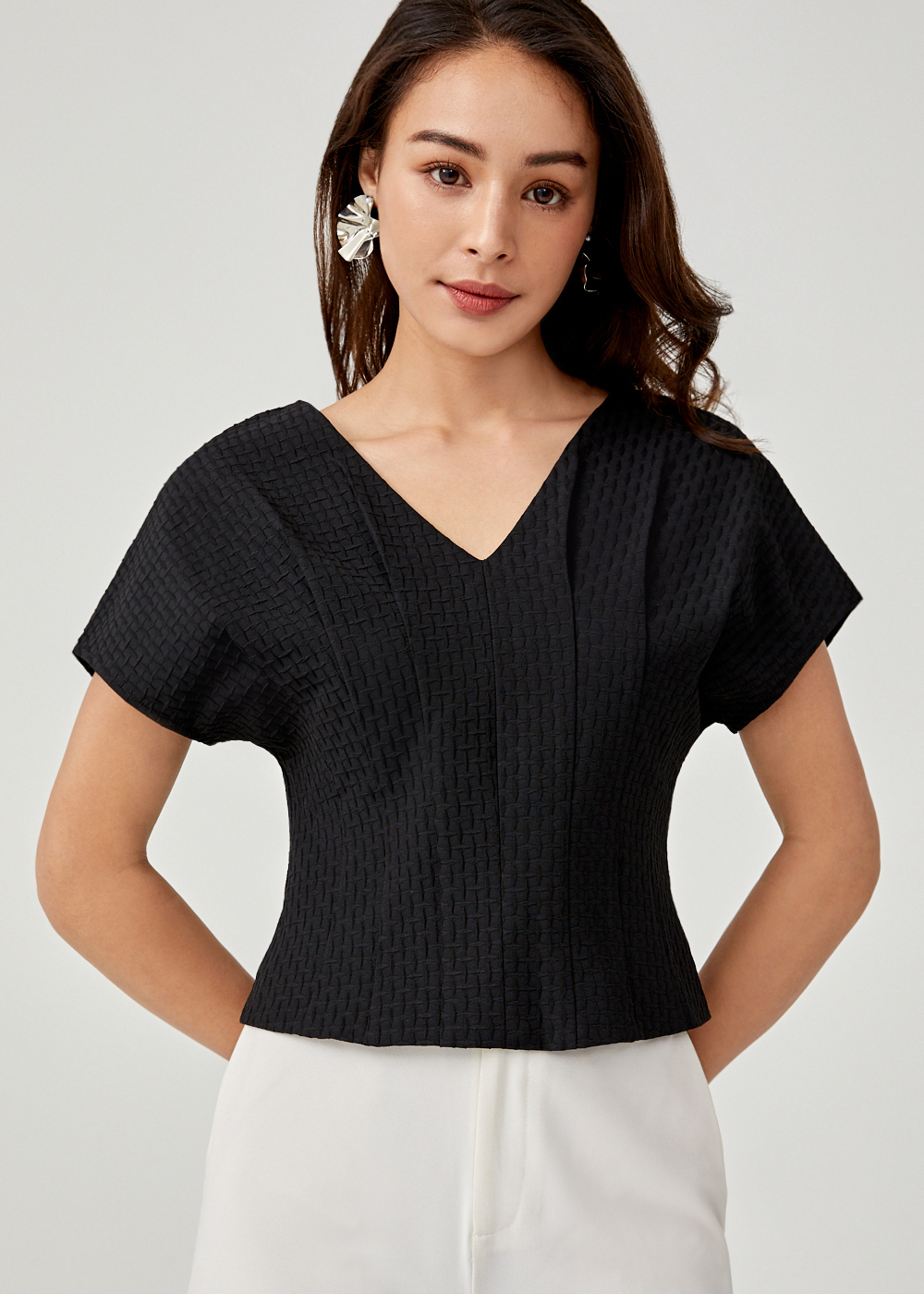 Cambria Jacquard V-neck Top