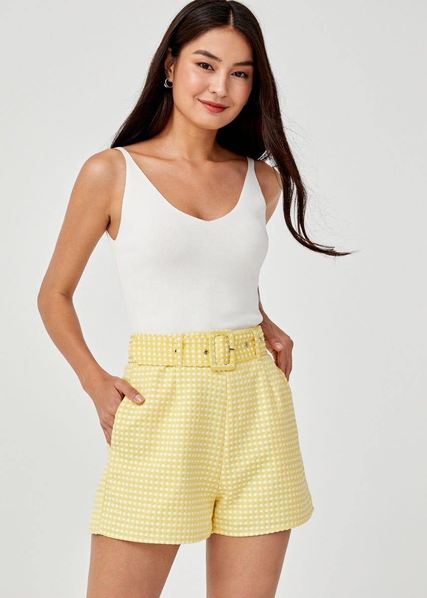 Candra Jacquard Belted Shorts