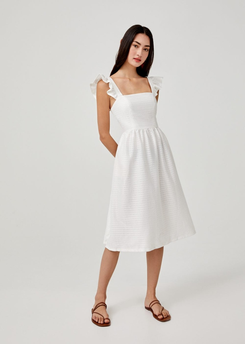 Alibeth Ruffle Sleeve Midi Dress