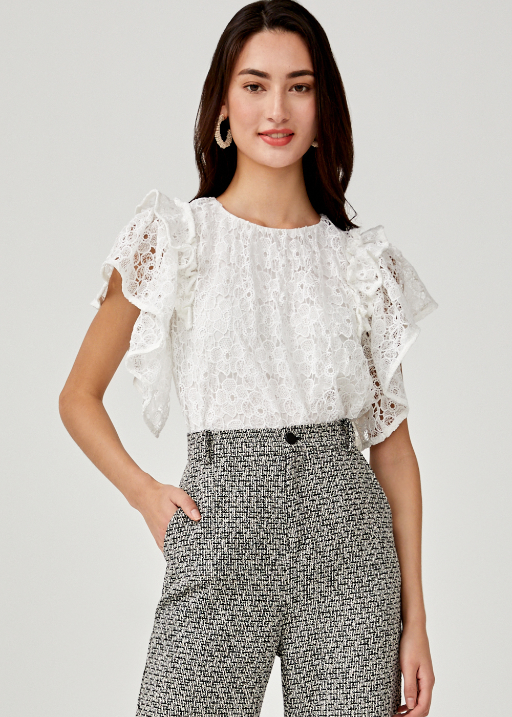 Amaris Lace Ruffle Sleeve Top