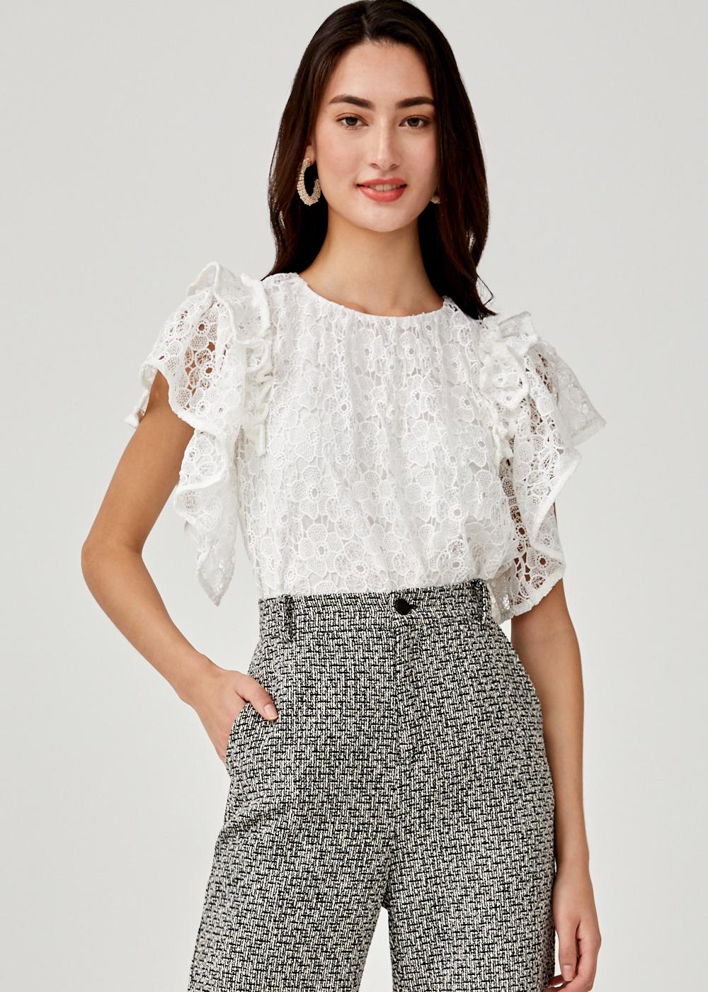 Amaris Lace Ruffle Sleeve Top