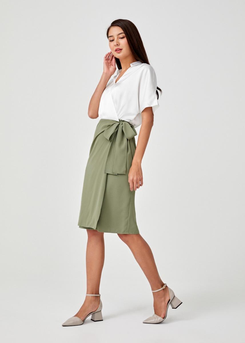 Elaise Satin Wrap Dress
