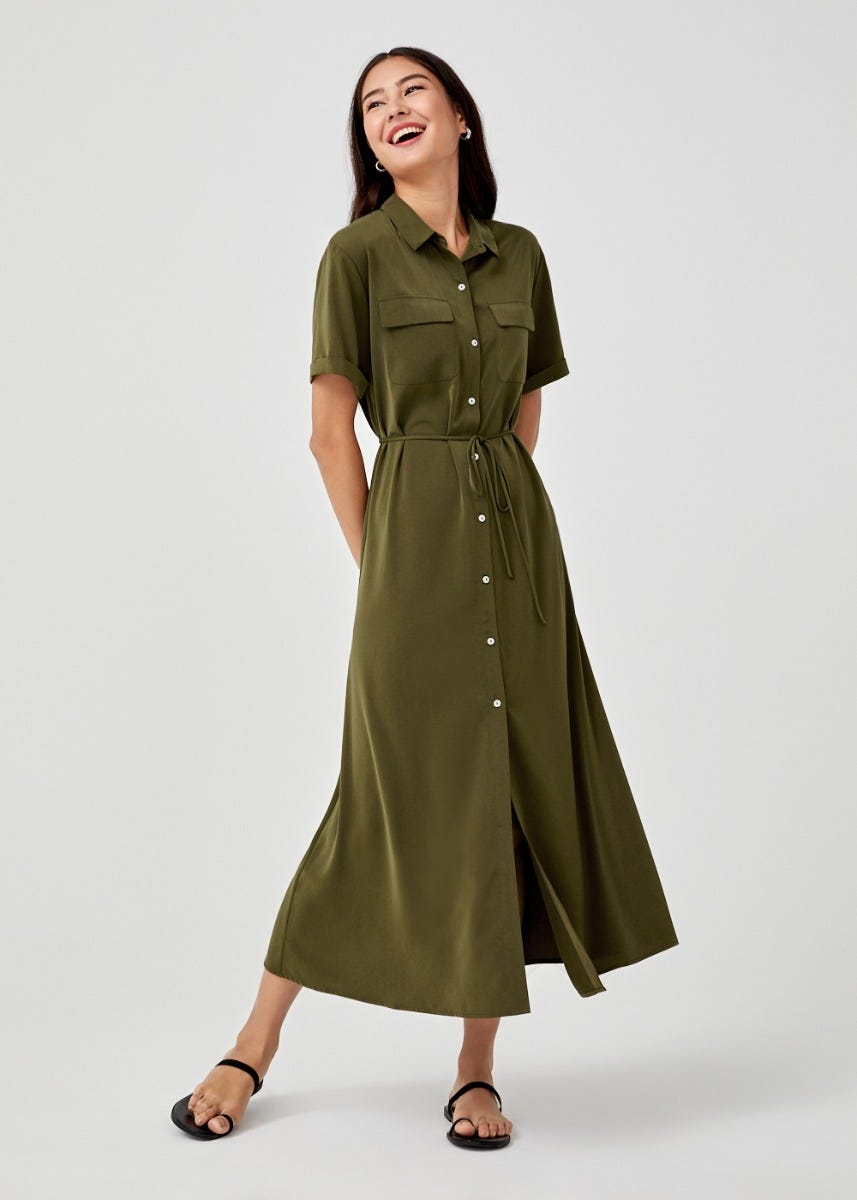 Miriana Ribbon Tie Shirt Dress