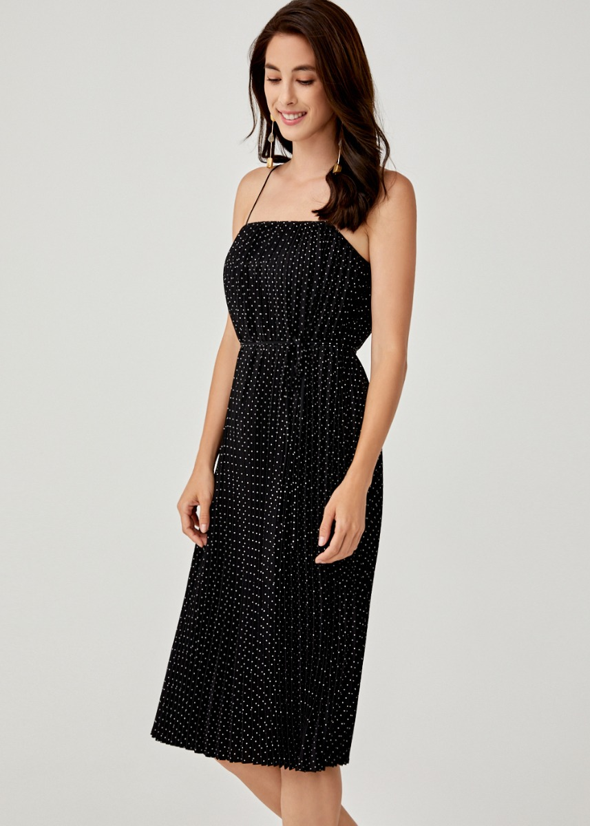 Lalaine Ribbon Tie Midi Dress