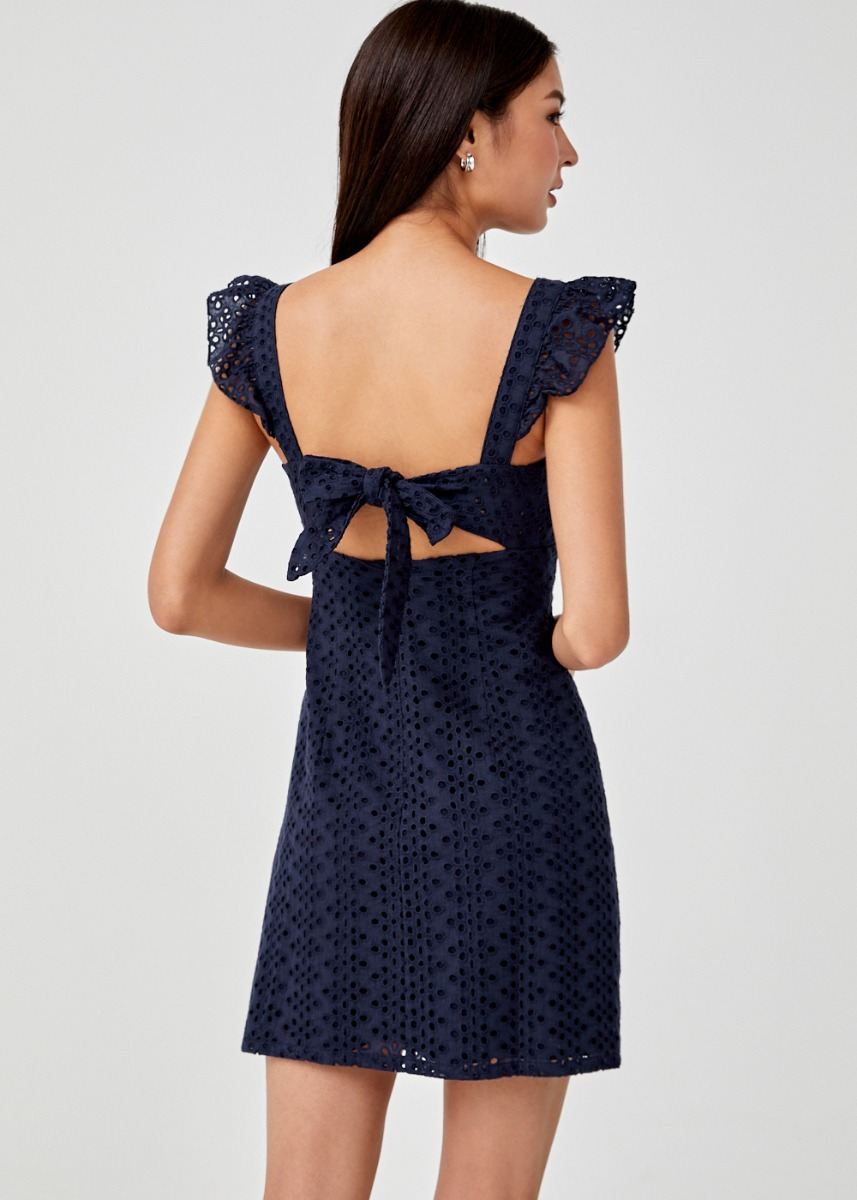 Kaira Broderie Anglaise Tie Back Dress