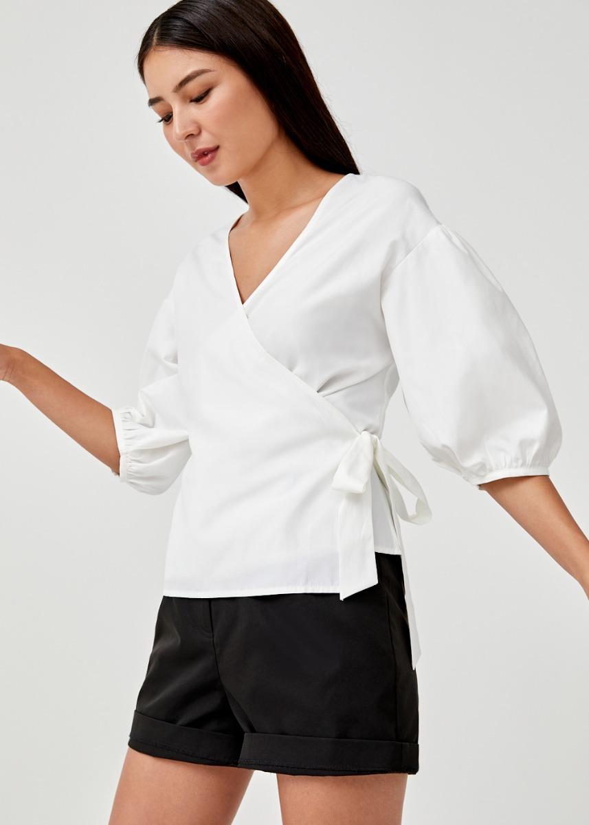 Hadriane Puff Sleeve Wrap Top
