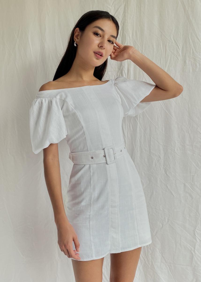 Brigitte Off Shoulder Puff Sleeve Linen Dress