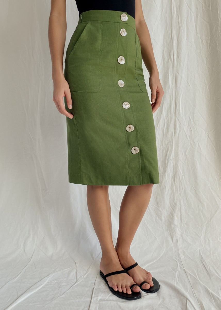 Leonora Button Front Pencil Skirt