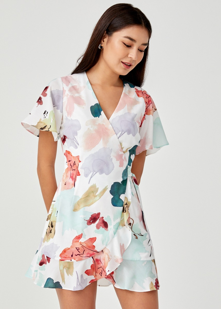 Jolee Front Wrap Dress in Floral Dance