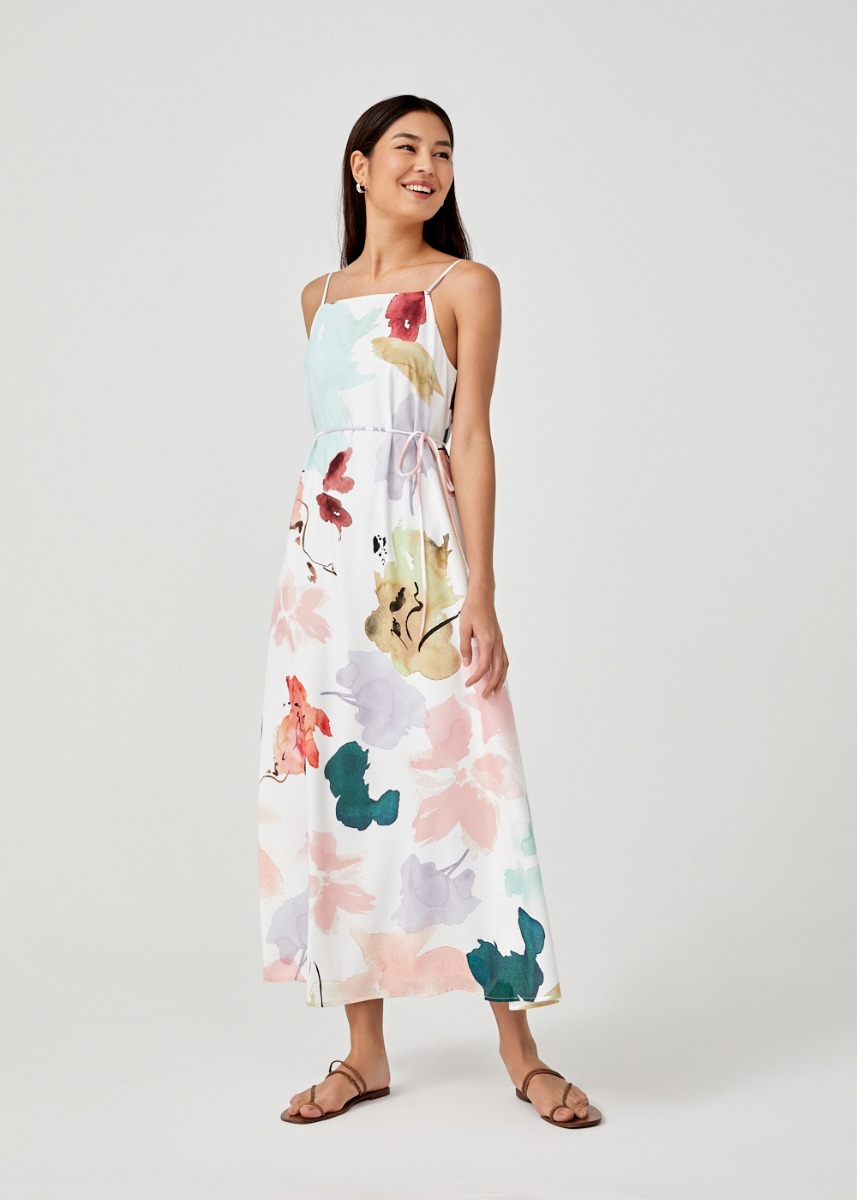 Desiree Strappy Maxi Dress in Floral Dance