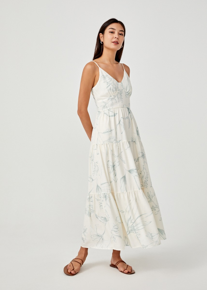 Kalina Tiered Camisole Maxi Dress in Floral Flutter