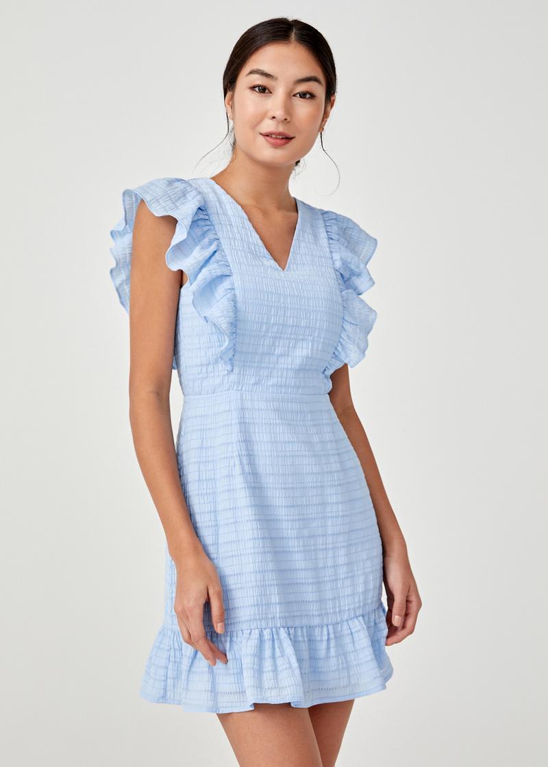 Verena Textured Ruffle Padded Dress