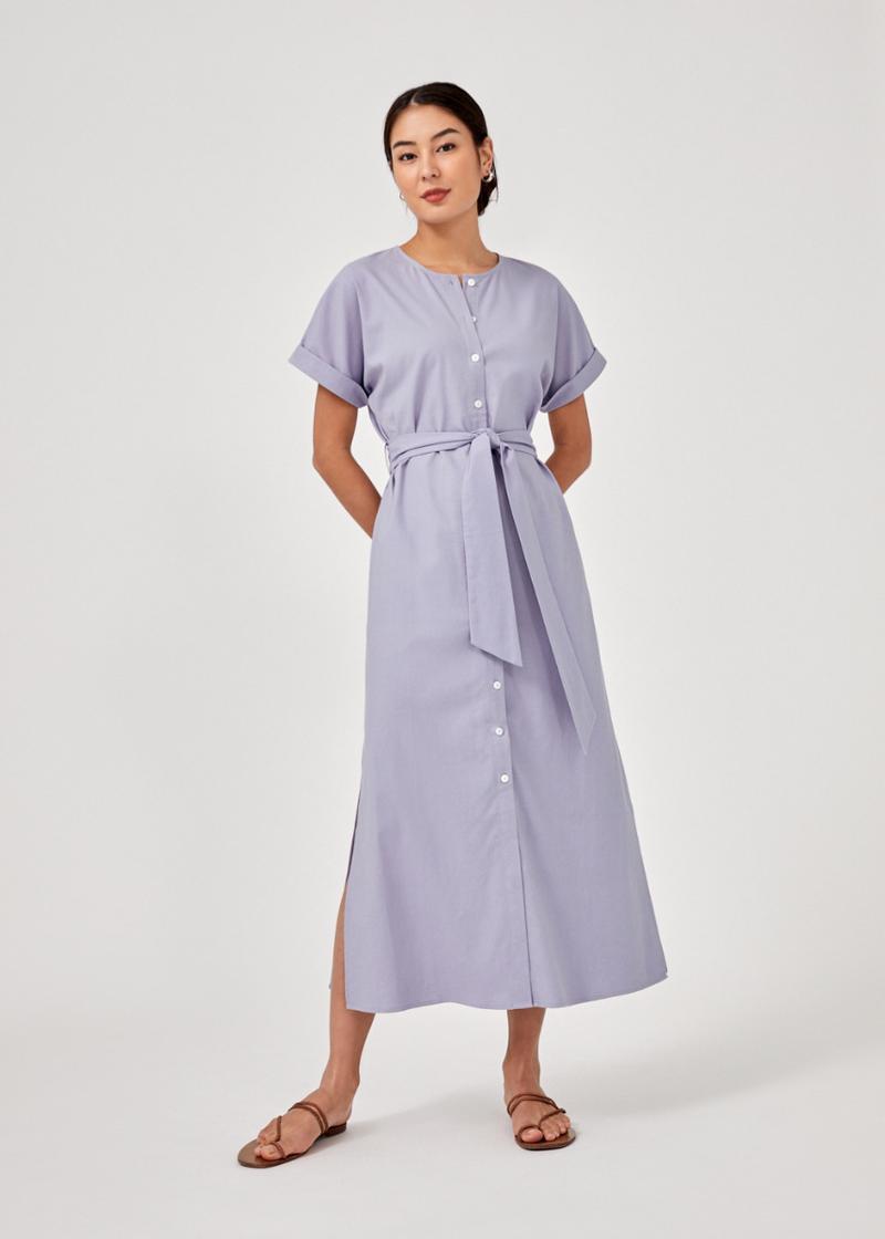 Maisy Button Down Linen Maxi Dress