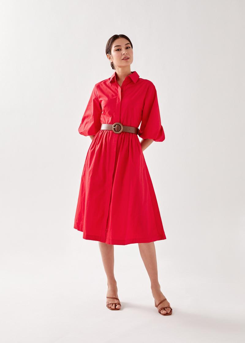 Jacia Belted Midi Shirt Dress