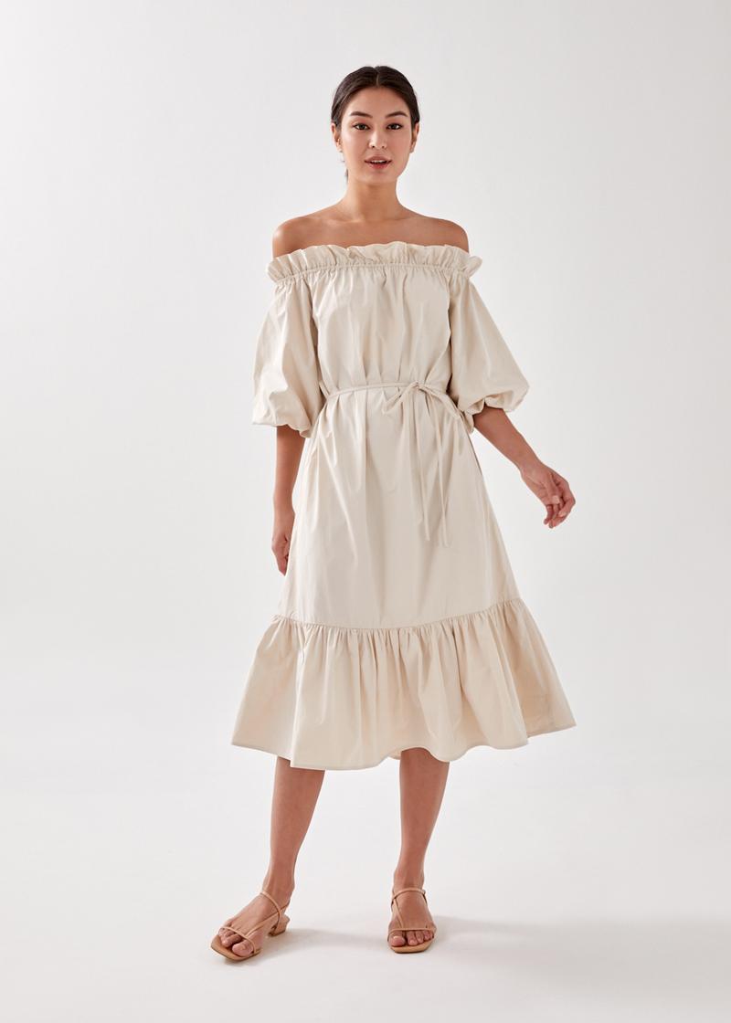 Lucette Puff Sleeve Off Shoulder Midi Dress