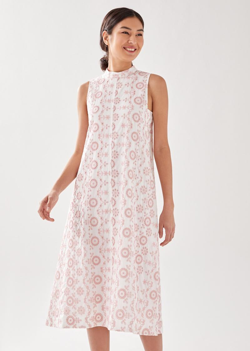 Emberetta Broderie Midi Dress