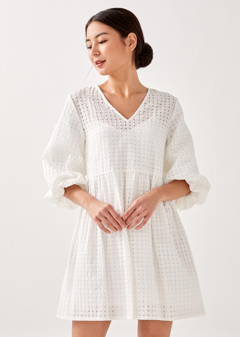 Sofira Textured Puff Sleeve Dress
