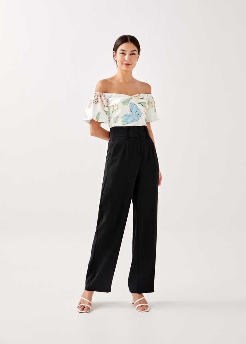 Cielo Puff Sleeve Off Shoulder Top in Unfolding Blooms