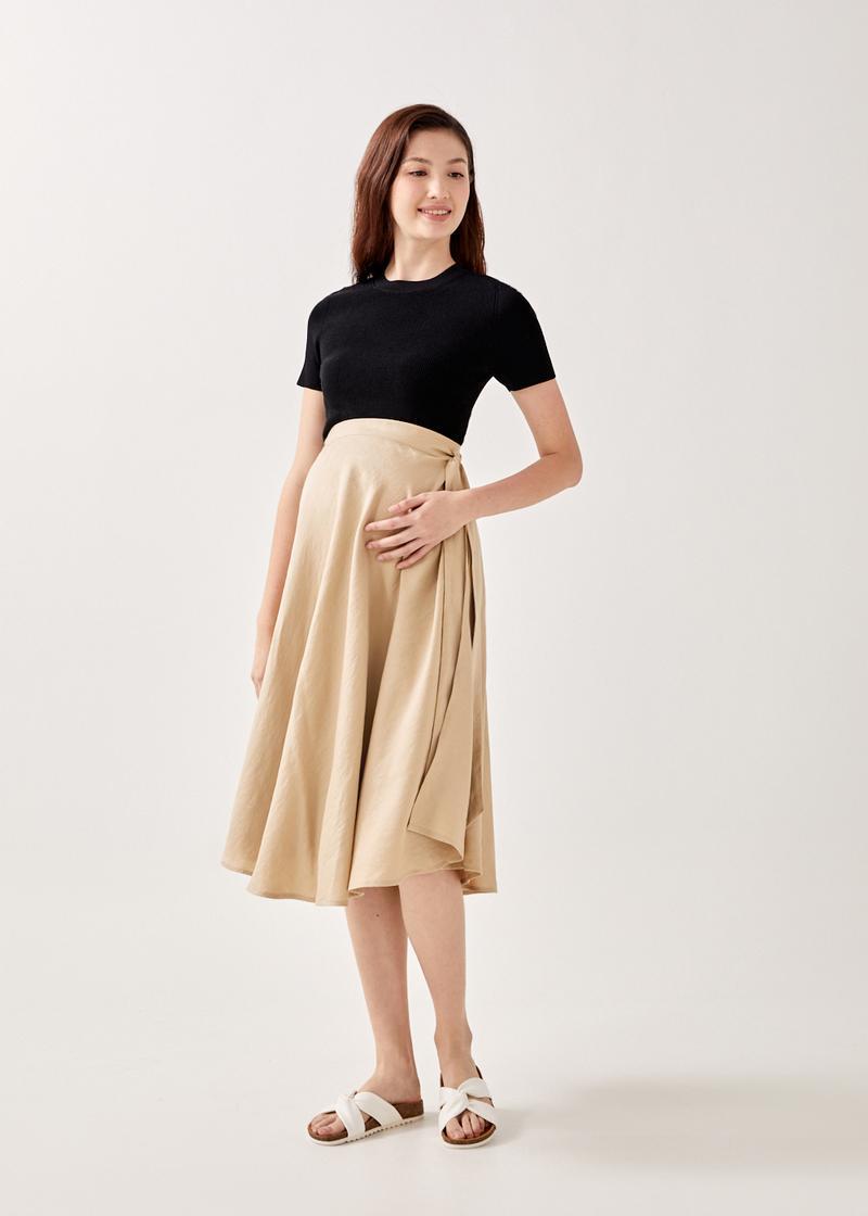 Saira Front Wrap Midi Skirt