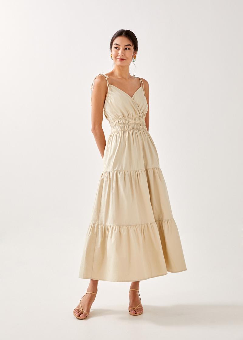 Alina Smocked Tie Shoulder Maxi Dress
