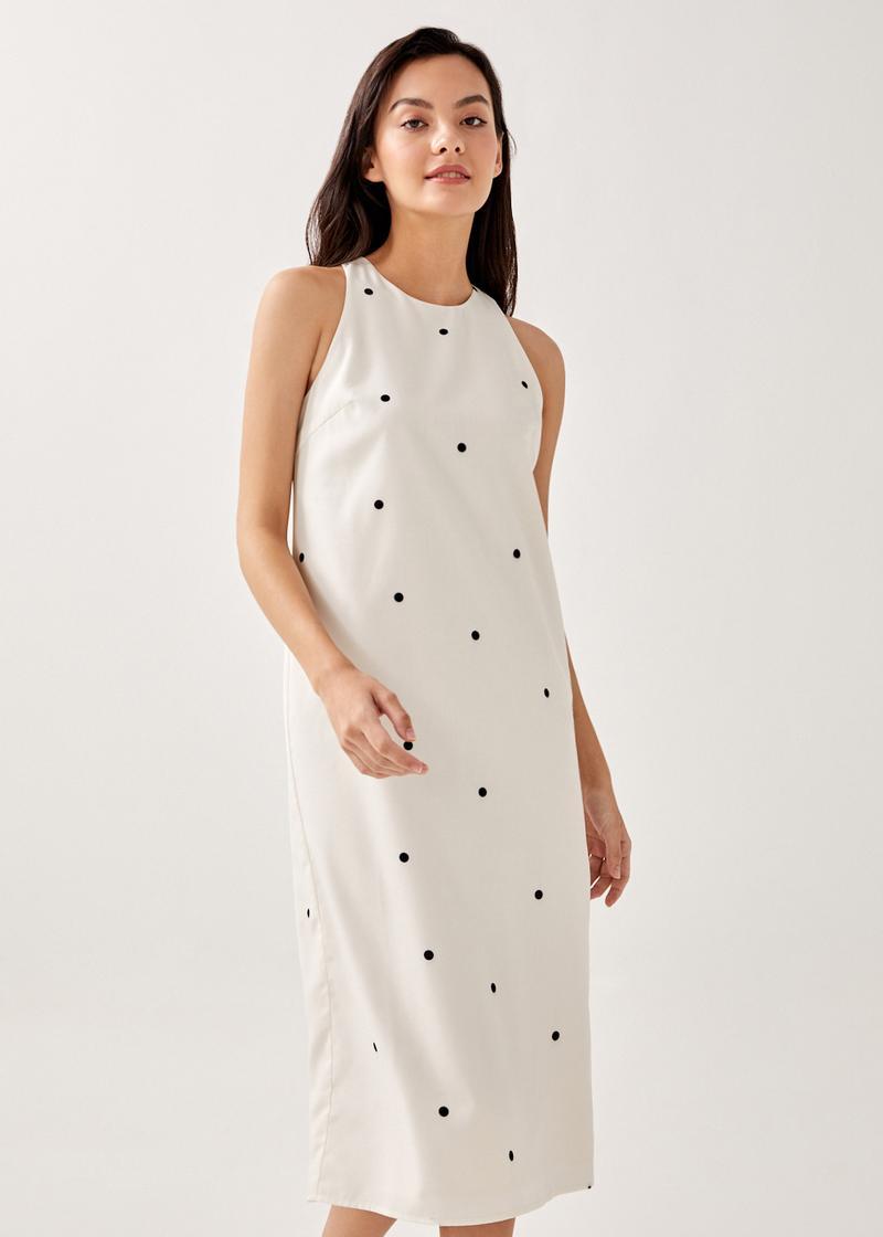 Journee Column Midi Dress in Spaced Polka
