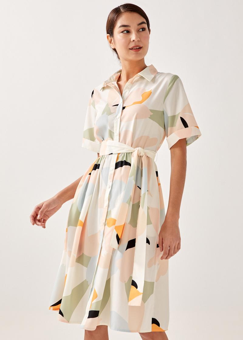 Ava Button Down Shirt Dress in Alluring Bloom